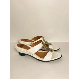Sofft White Patent Leather Wedge Sandal Sz 7 1/2